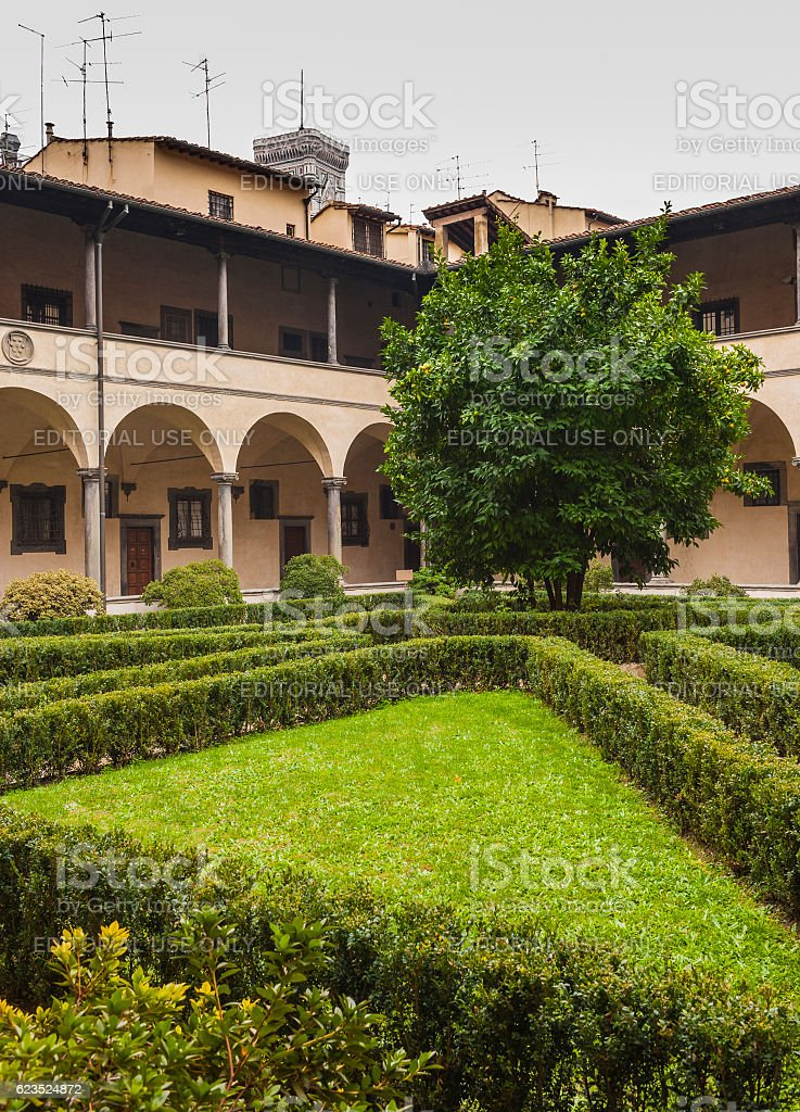 Florence, Italy. Cloister of the Basilica di San Lorenzo stock photo