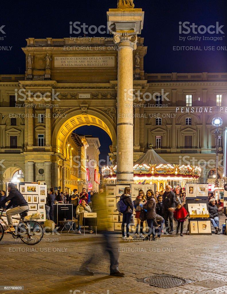 Florence, Italy. Piazza della Repubblica (Republic Square) at night stock photo