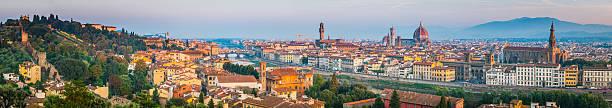 florence landmark sunrise panorama duomo villas spires cityscape tuscany italy - giotto stock-fotos und bilder