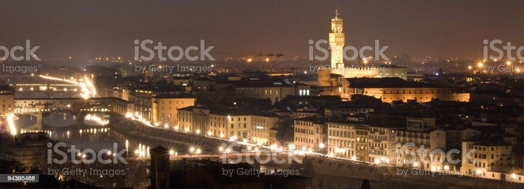 florence landscape, night scece panorama along Arno royalty-free stock photo