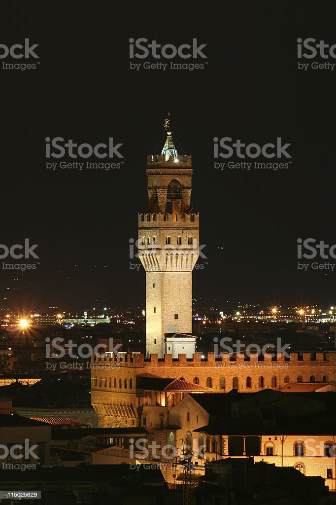 Florence Landscape Night Scene - Tuscany, Italy stock photo