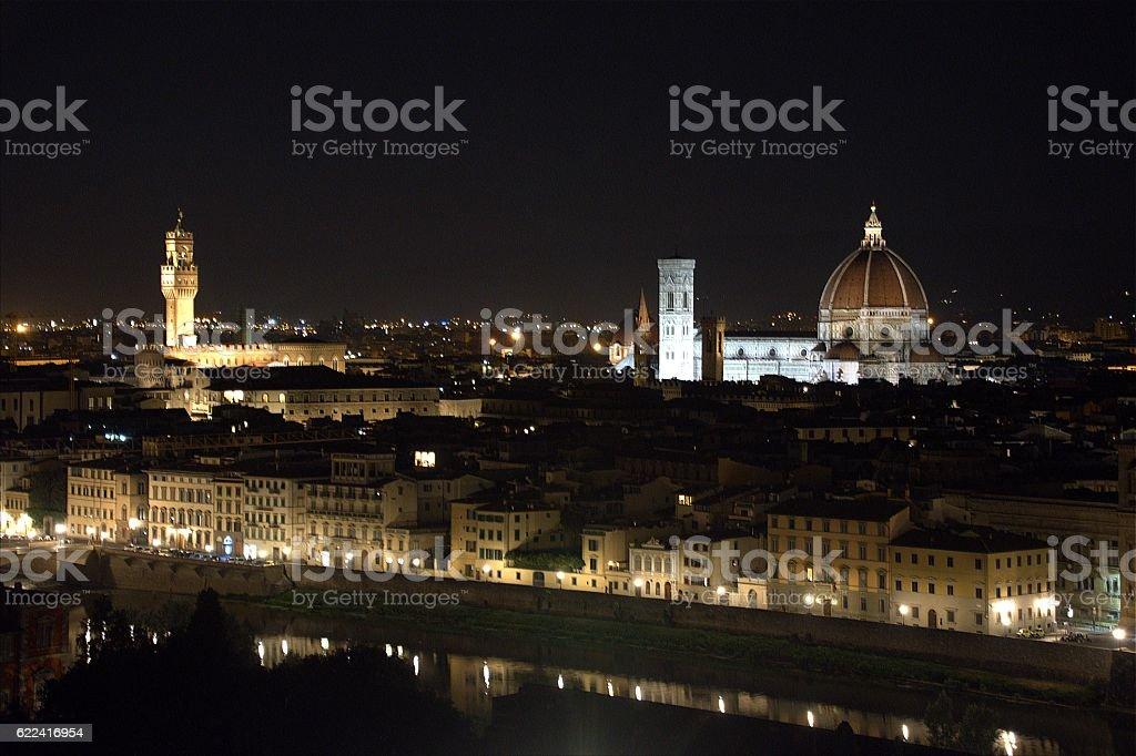Florence Night cityscape, Italy stock photo