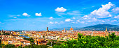 Florence or Firenze cityscape. Panorama view from Michelangelo park square. Ponte Vecchio bridge, Palazzo Vecchio and Duomo Cathedral. Tuscany, Italy