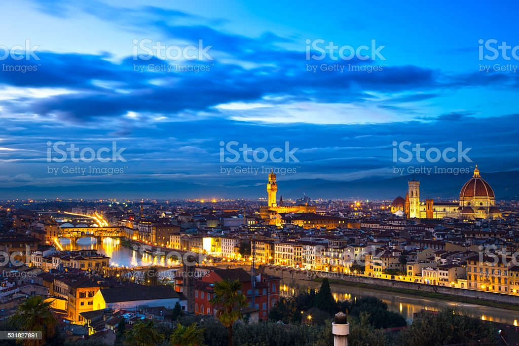Florence or Firenze sunset aerial cityscape. Panorama view from stock photo