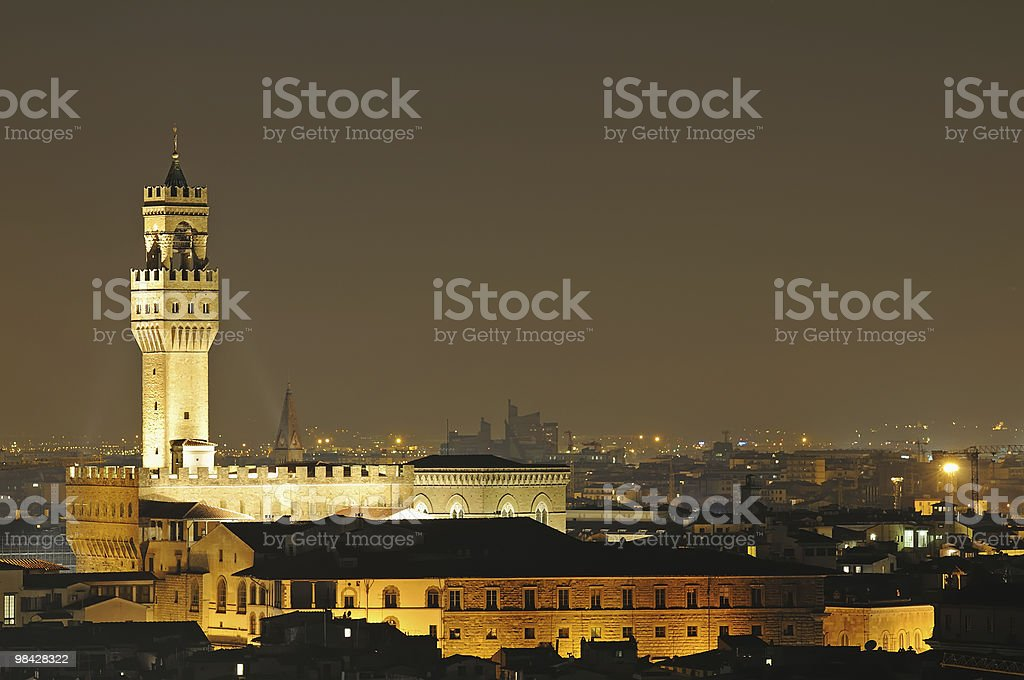 Florence, Palazzo Vecchio in the night royalty-free stock photo