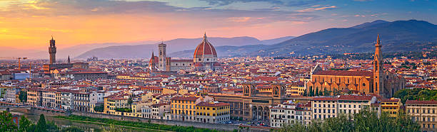 Florence Panorama. Panoramic image of Florence, Italy during beautiful sunset. This is composite of three horizontal images stitched together in photoshop. florence italy stock pictures, royalty-free photos & images