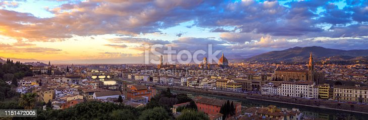 Florence panorama from piazzale Michelangelo at sunset