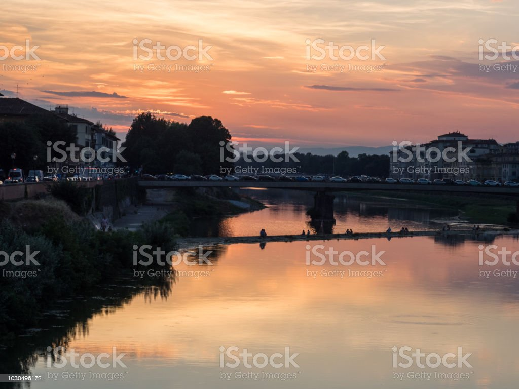 Florence Partial view with Arno river at sunset stock photo