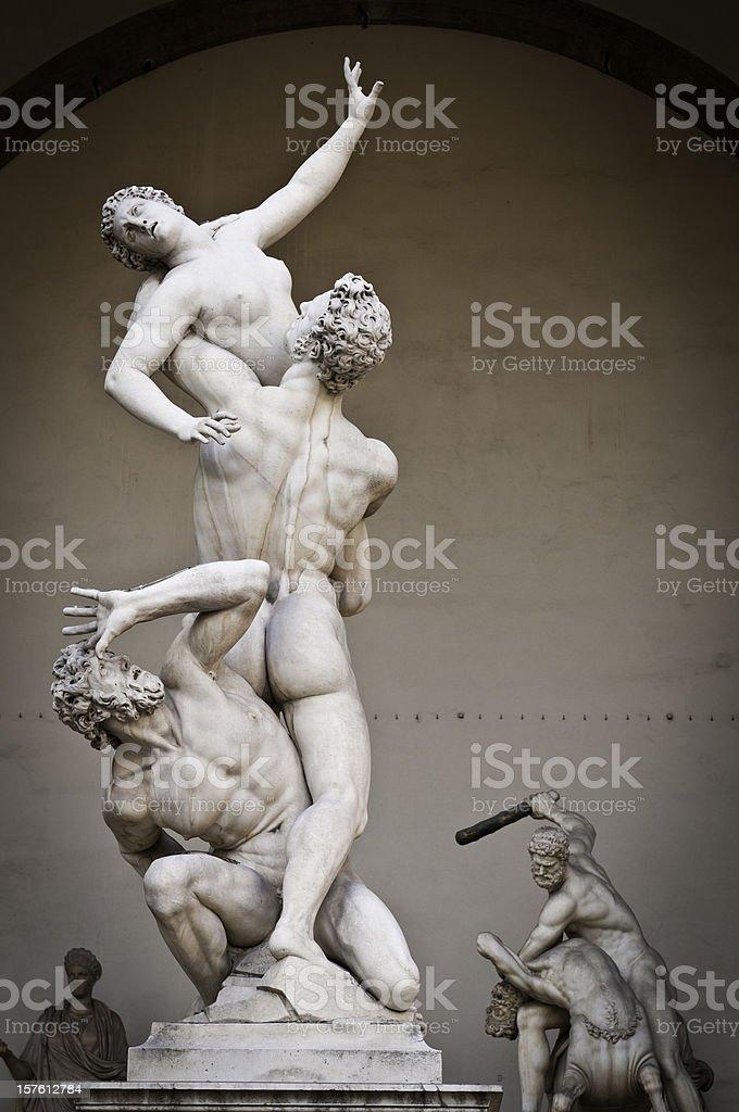 Florence Piazza della Signoria Loggia dei Lanzi rennaissnce statues Italy stock photo