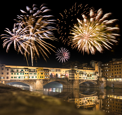 Florence ponte vecchio on the night for new year