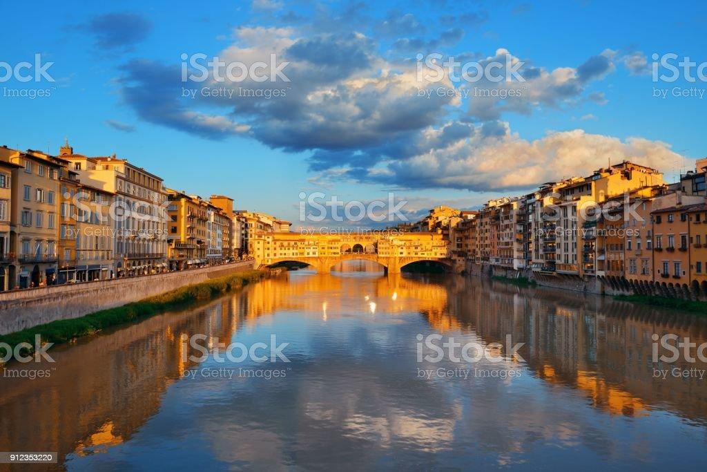 Florence Ponte Vecchio sunrise stock photo