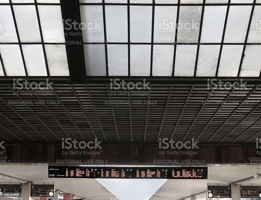 Florence railway station, canopy and arrivals board - abstract timetable stock photo