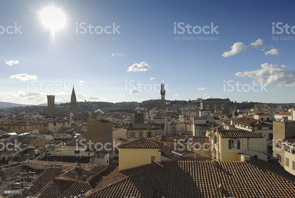 Florence Roof Tops, Sun in the Sky royalty-free stock photo