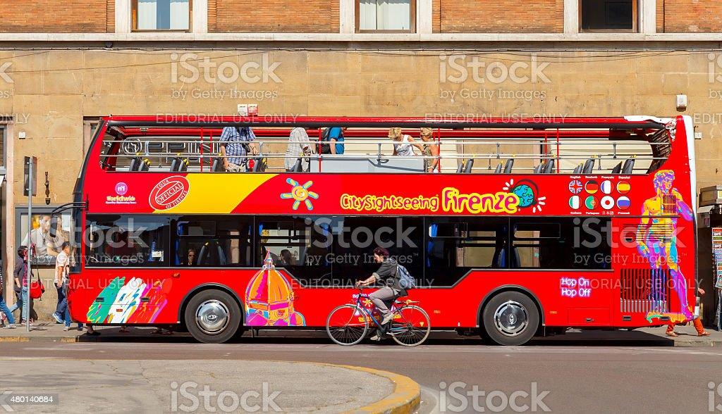Florence. Sightseeing bus. stock photo