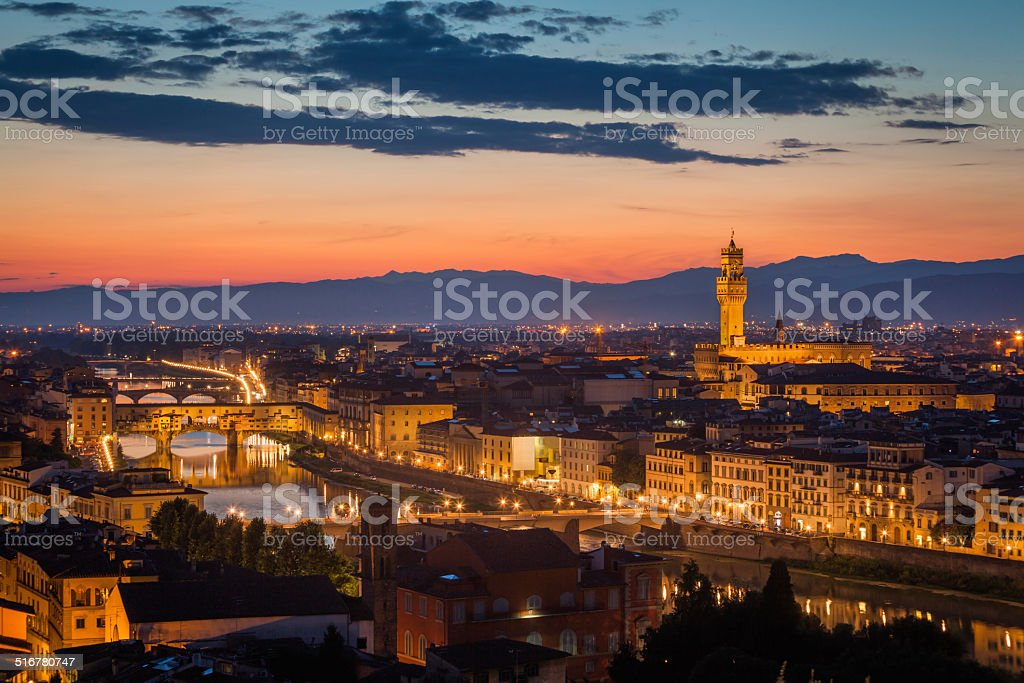Florence Skyline after sunset stock photo