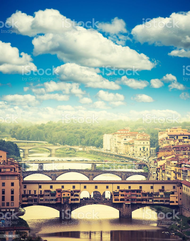 Florence skyline and Arno river with Ponte Vecchio royalty-free stock photo