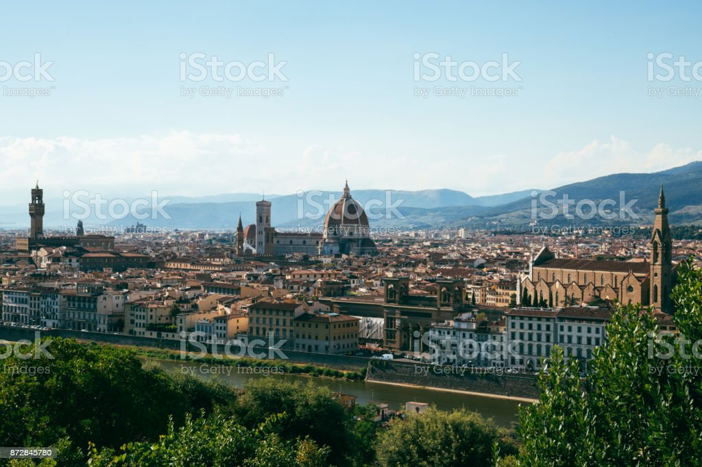 Florence skyline and famous sights from Piazzale Michelangelo stock photo