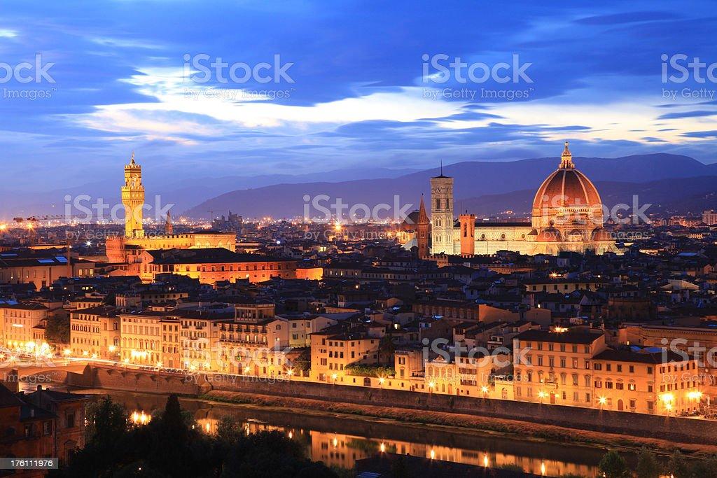 Florence Skyline at Dusk, Tuscany, Italy royalty-free stock photo