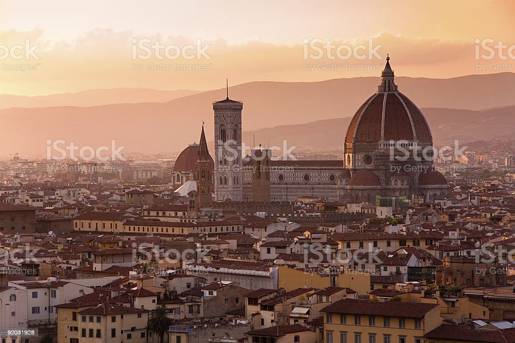 Florence skyline at sunset stock photo