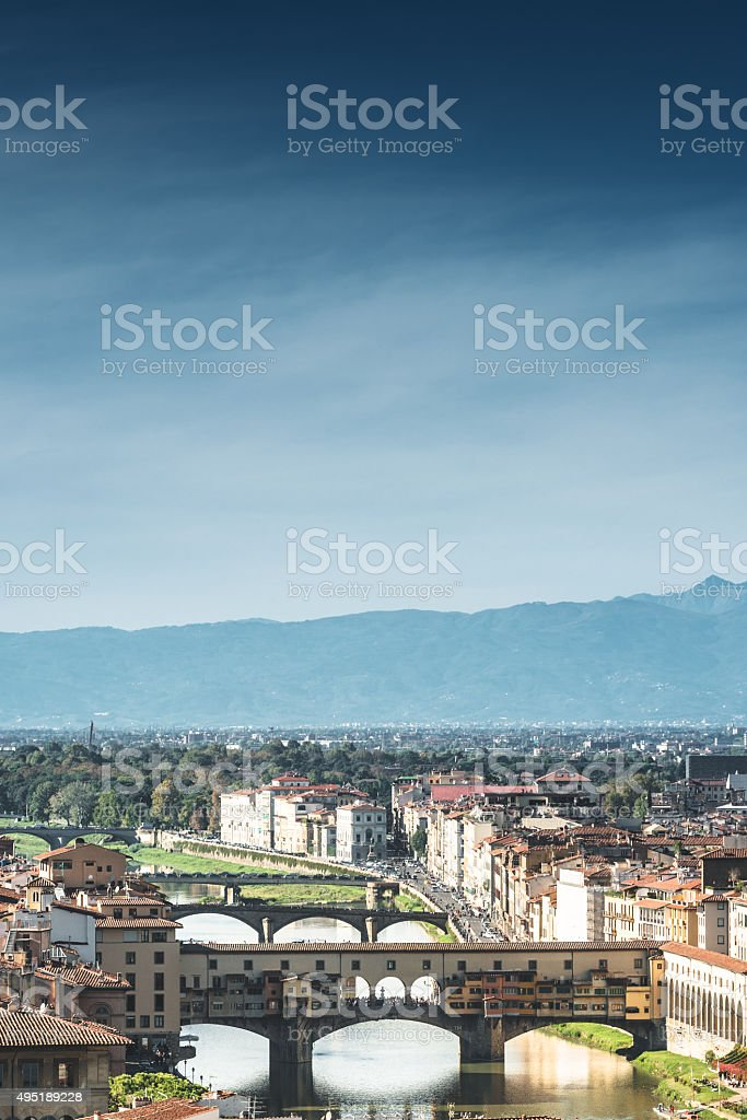 Florence skyline with ponte vecchio stock photo