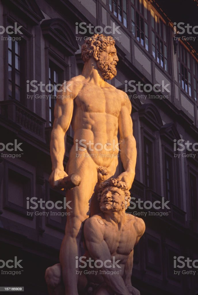 Florence: Statue of Hercules Killing Cacas, Dramatic Lighting stock photo