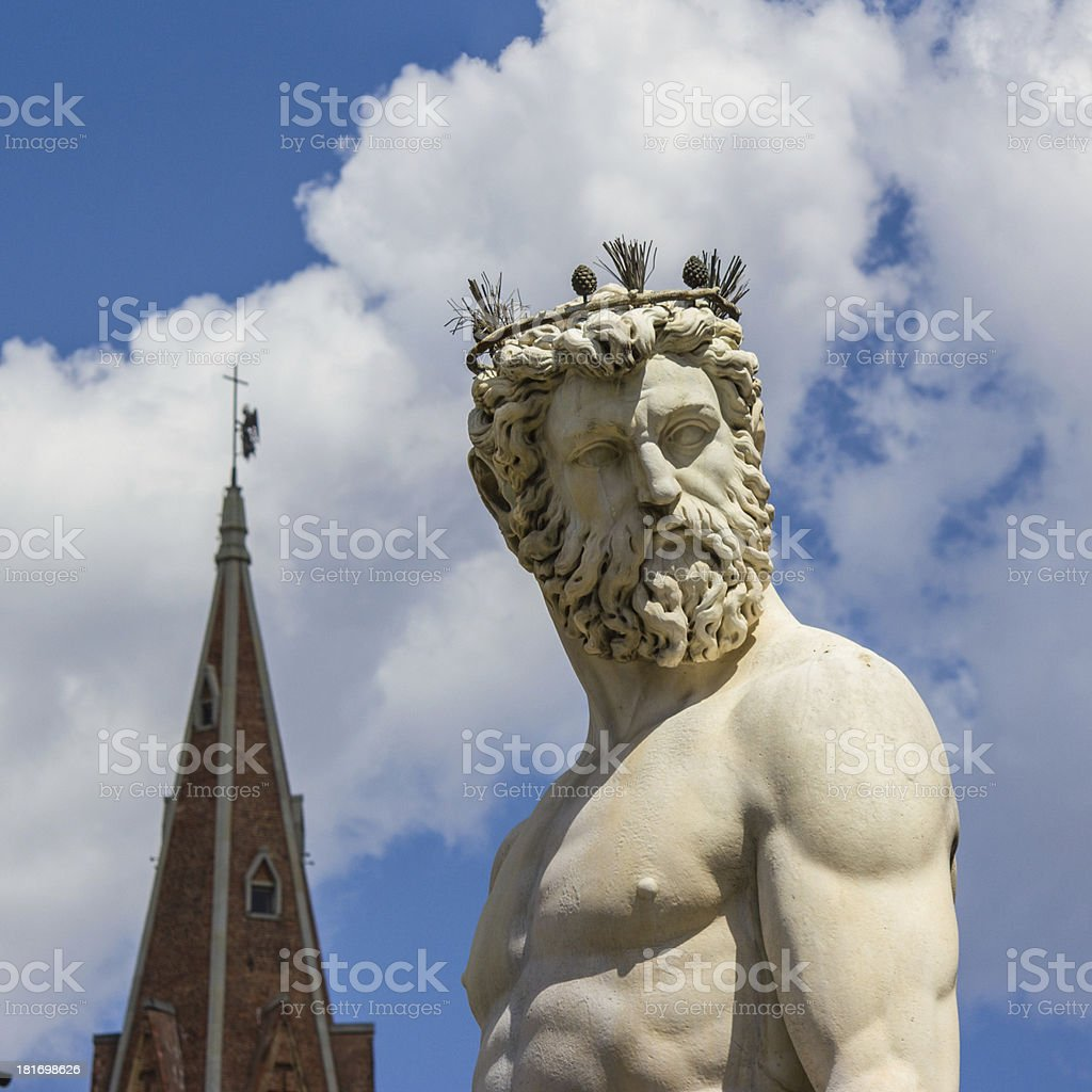 Florence, statue of Neptune royalty-free stock photo