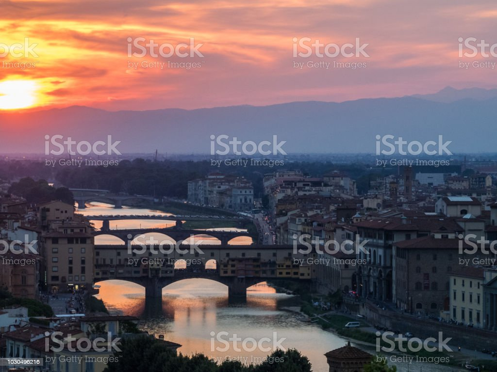 Florence Sunset over the Arno river stock photo