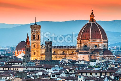 Florence, Tuscany - Amazing sunset with Duomo Santa Maria del Fiori, Renaissance architecture in Firenze, Italy.