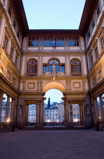 Galleria degli Uffizi Street sign on the wall, Florence, Tuscany, Italy