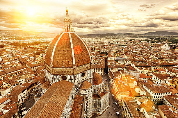 Florence view. Basilica di Santa Maria del Fiore. Italy. Florence sunny view, Italy. The Basilica di Santa Maria del Fiore (Basilica of Saint Mary of the Flower) in the foreground. florence italy stock pictures, royalty-free photos & images