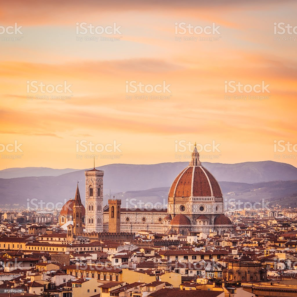 Florence's cathedral and skyline at sunset stock photo