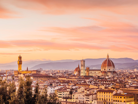 Florence's skyline at sunset