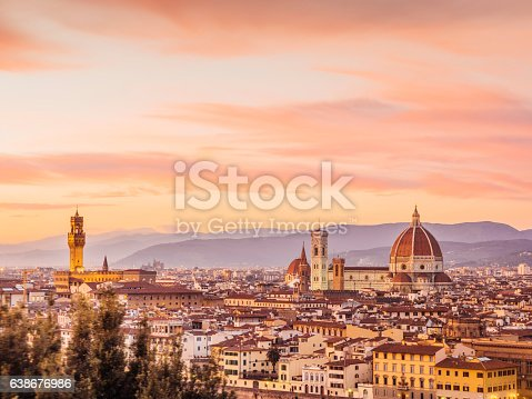 Florence's skyline at sunset