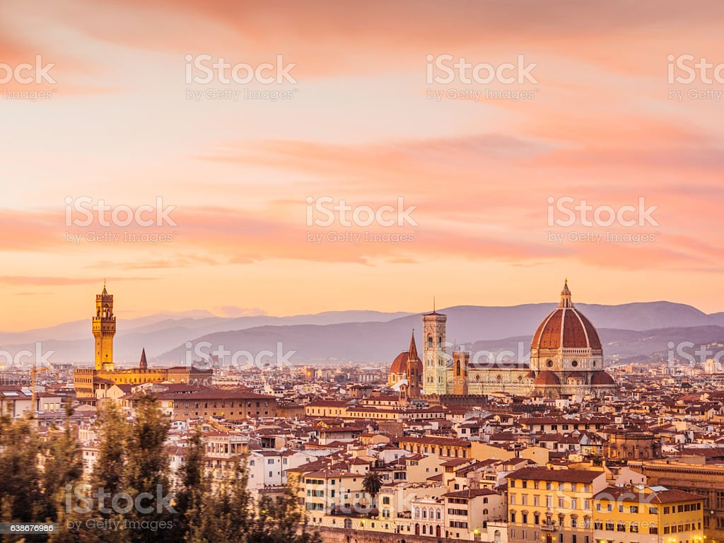 Florence's skyline at sunset stock photo