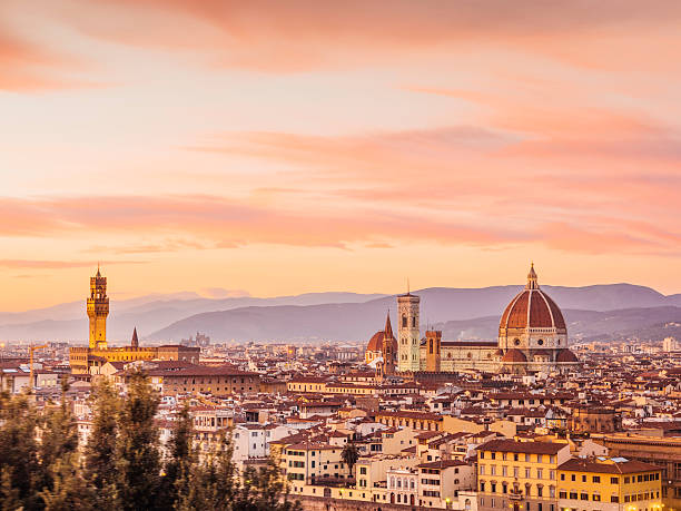 florence's skyline at sunset - italy stock photos and pictures
