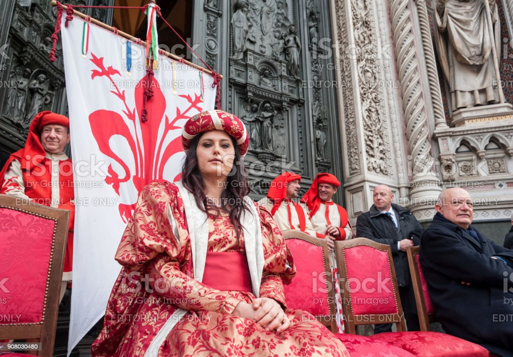 A Florentine great lady on the stage during a public ceremony stock photo