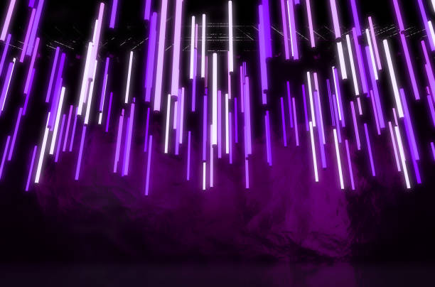 Florescent Glowing Tube Decor A collection of purple florescent tube lights hanging from scaffolding on a concert stage as decoration - 3D render irradiation stock pictures, royalty-free photos & images