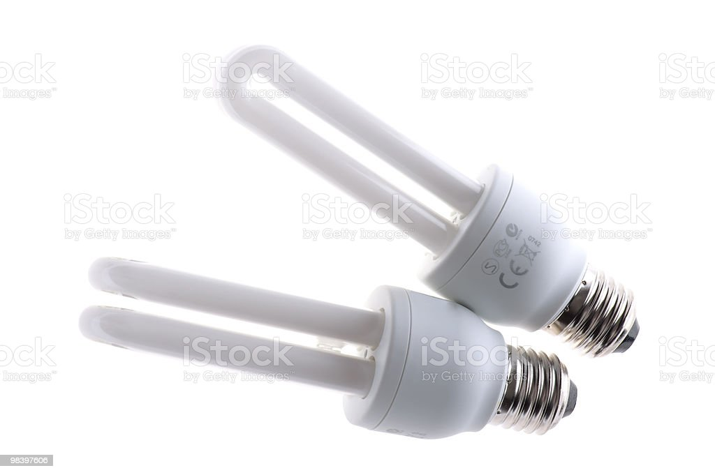 florescent light bulb on white background royalty-free stock photo