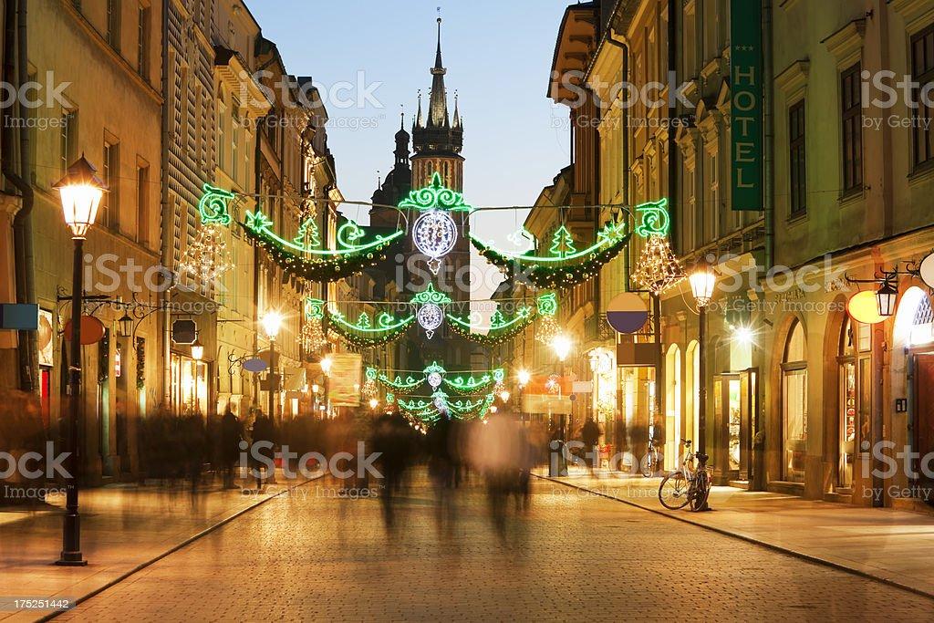 Florianska Street with Christmas Decorations at Dusk, Cracow, Poland royalty-free stock photo