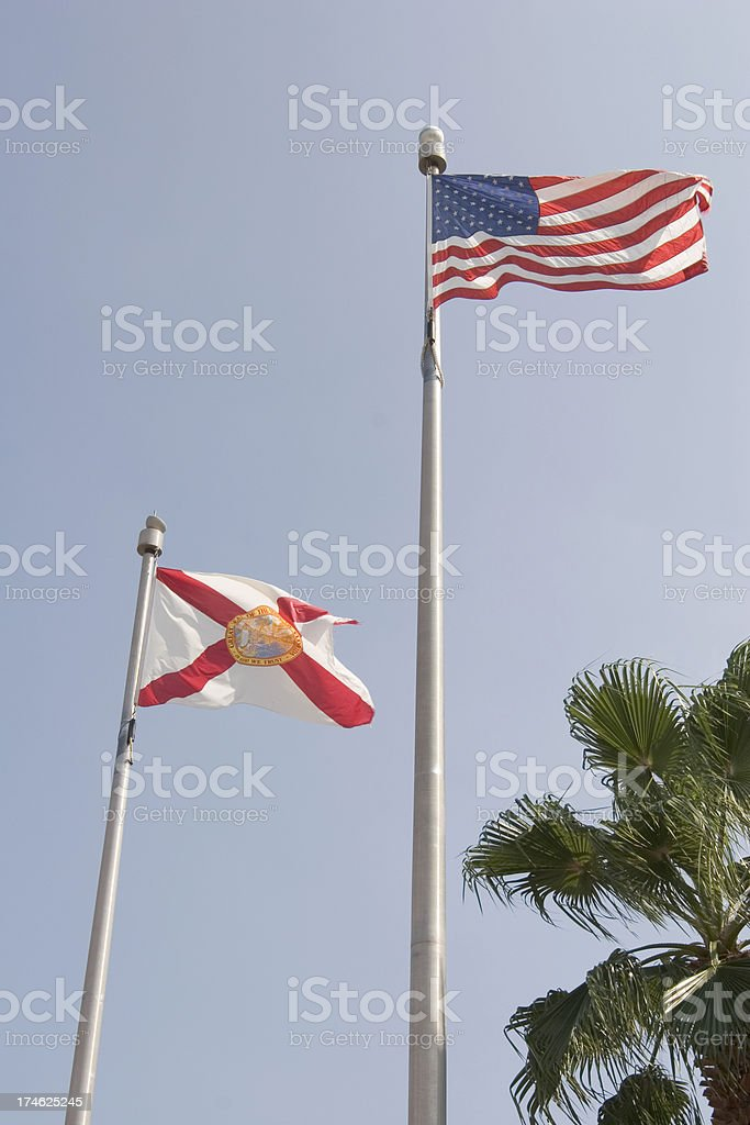 Florida and US Flags royalty-free stock photo