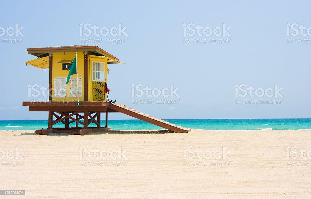 Florida beach and lifeguard hut stock photo