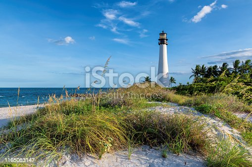 Beach Florida Lighthouse. Cape Florida Lighthouse, Key Biscayne, near Miami, Florida, USA