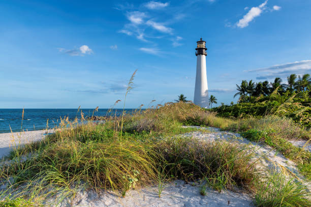Florida Beach and Lighthouse in Key Biscayne stock photo