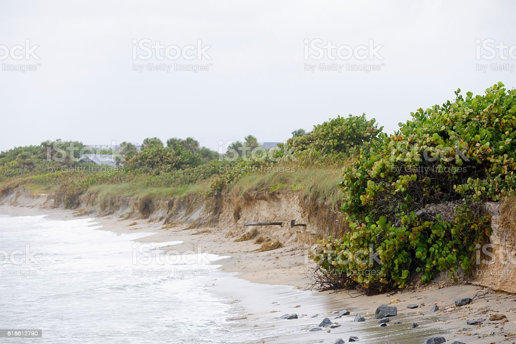 Florida beach erosion stock photo