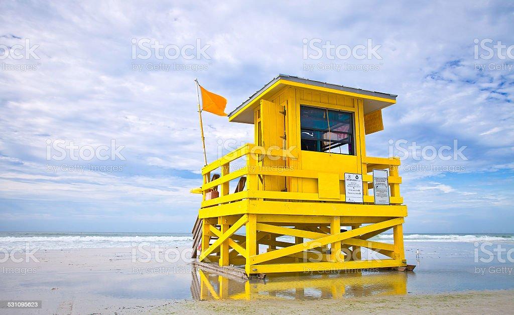 Florida Beach lifeguard house stock photo