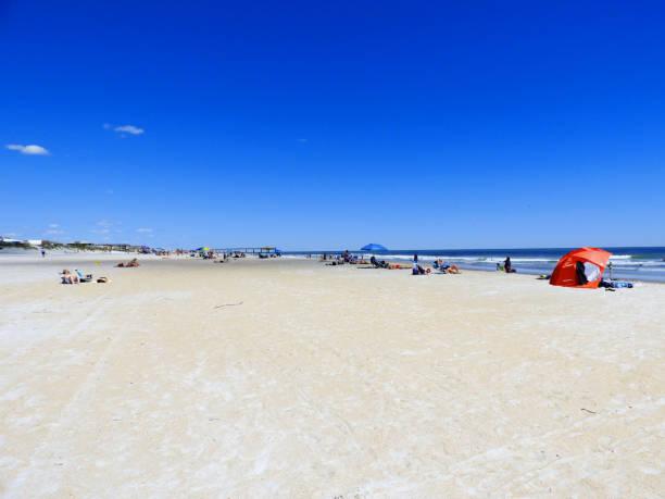Florida Beach Scene in Spring stock photo