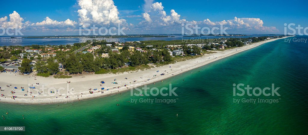 Florida beaches panoramic aerial photo stock photo