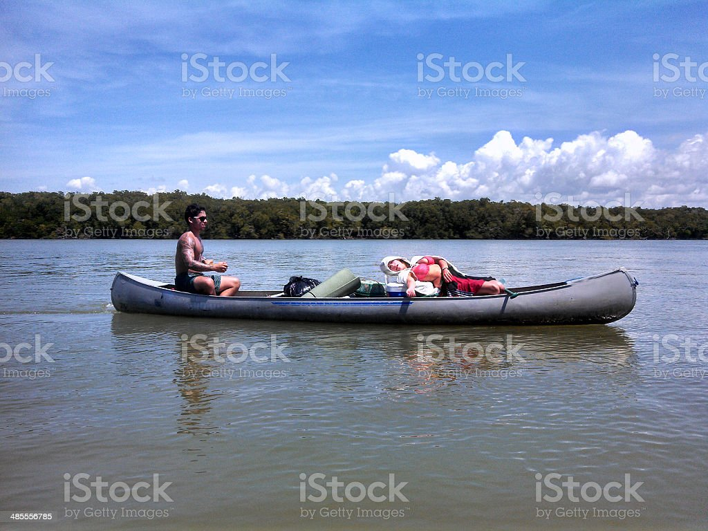 Florida Everglades Camping Trip Canoing on River royalty-free stock photo