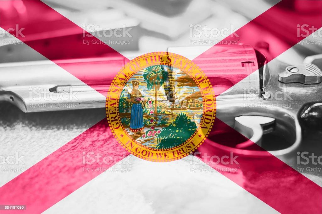 Florida flag (U.S. state) Gun Control USA. United States Gun Laws. royalty-free stock photo