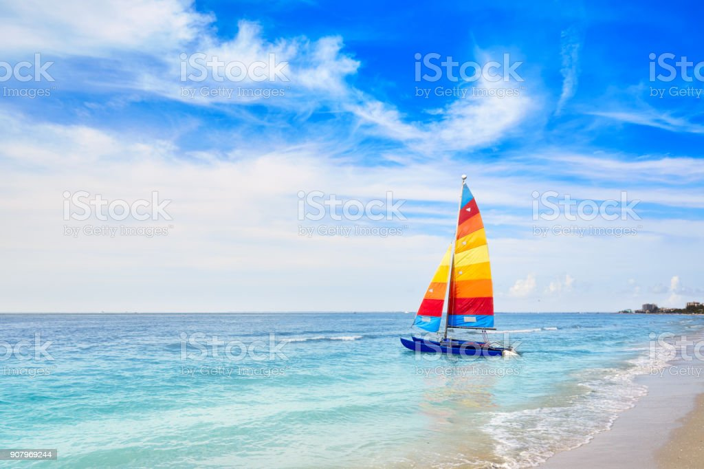 Florida fort Myers beach sailboat in USA stock photo